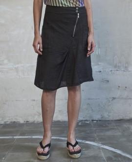 Falda lino negra