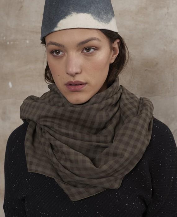 Fulard quadres caqui