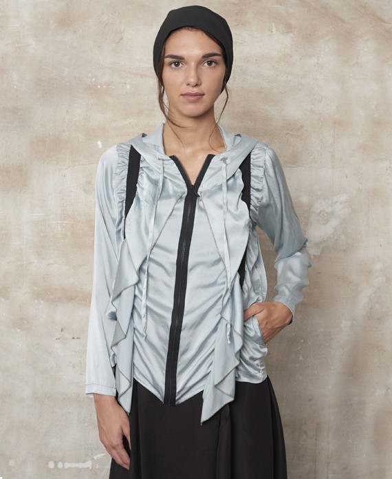 Hooded silk jacket grey